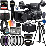 Sony PXW-Z150 4K XDCAM Camcorder with Deluxe Accessory Bundle – Includes: Sony MDR-7506 Headphones + Handheld & Wireless Lav TwinMic Set + SanDisk Extreme PRO 128GB SDXC Memory Card + More
