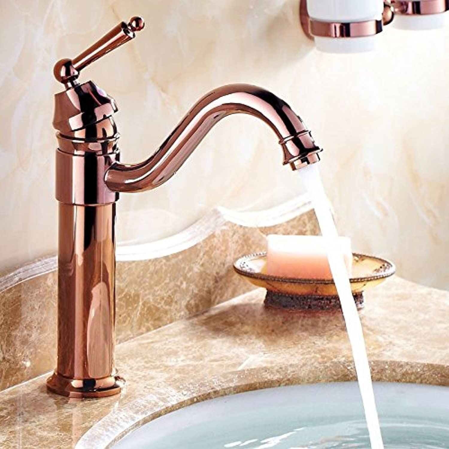 Gyps Faucet Basin Mixer Tap Waterfall Faucet Antique Bathroom Mixer Bar Mixer Shower Set Tap antique bathroom faucet Antique copper-plated single handle single hole of hot and cold water basin mixer r