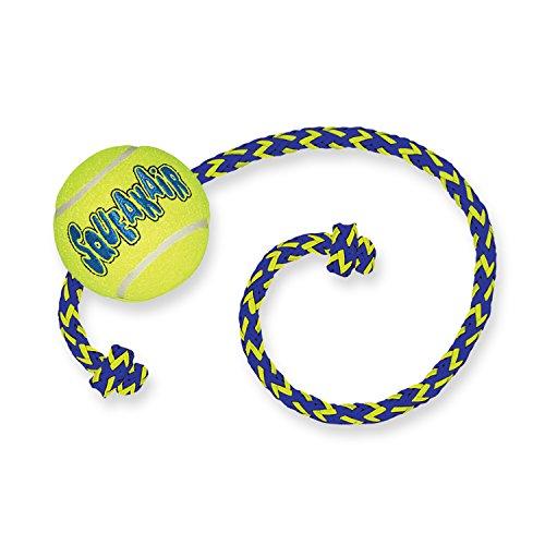 KONG – Squeakair Ball mit Seil – Premium-Hundespielzeug, Quietschende Tennisbälle, Zahnschonend – Für Mittelgroße Hunde
