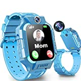 Kids Smart Watch Phone for Girls Boys Age 3-12, Dual Cameras IP67 Waterproof Smartwatch with 8 Games Music Player SOS Call Alarm Clock Flashlight 12/24 Hr Children Learning Toys Birthday Gifts (Blue)