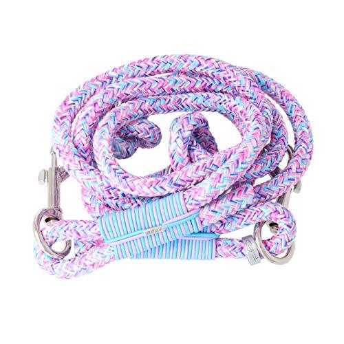 Taumur Groandi - Zweifach verstellbare Hundeleine - Robustes PPM - große Hunde - Farbe: lila/rosa/hellblau/weiß