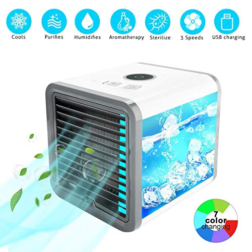 【US delivery】 Best Rechargeable Water-Cooled Air Conditioner Eco-Friendly,Portable Ultra-Quiet Electric Fan, Cooling Cooler Spray Humidifier with USB,for Home/Office/Outdoor (White)