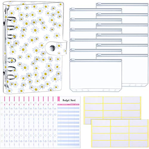 27 Pieces A6 Binder PVC Notebook Cover Binder Budget Envelopes System Budget Planner Organizer 6-Ring Binder Cover with Binder Zipper Pockets, Budget Sheets, and Labels (Daisy)