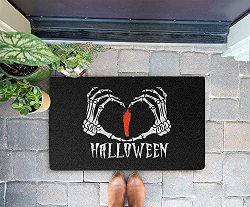 Halloween Doormat - Bone Hand I Love Halloween 24x16 Inch Outdoor Front Door Mat Kitchen Mat for Floor Welcome Home