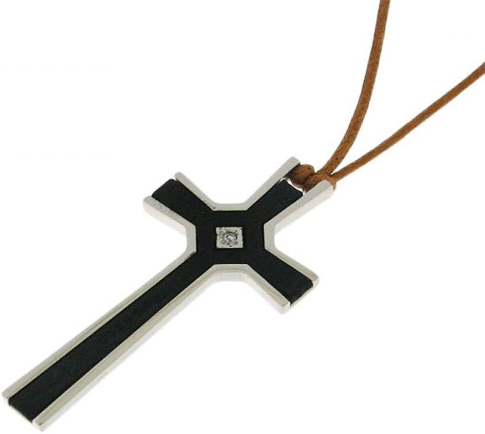 Rebecca collana in filo e pendente croce in acciaio e ebano ECRMDD12 11