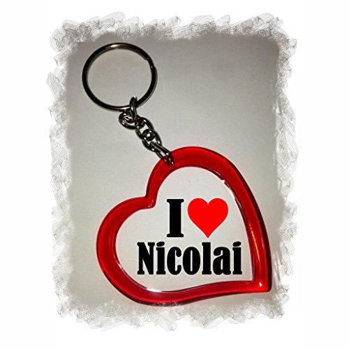Druckerlebnis24 Herz Schlüsselanhänger I Love Nicolai - Exclusiver Geschenktipp zu Weihnachten Jahrestag Geburtstag Lieblingsmensch