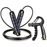 Jump Rope and Hand Grip Strength Trainer for Fitness, Tangle-Free Rapid Speed Adjustable Skipping...