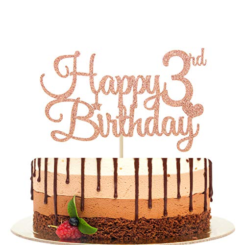 Happy 3rd Birthday Cake Topper, Young Wild and Three, Kids' 3rd Birthday Party Decorations Rose Gold Glitter.