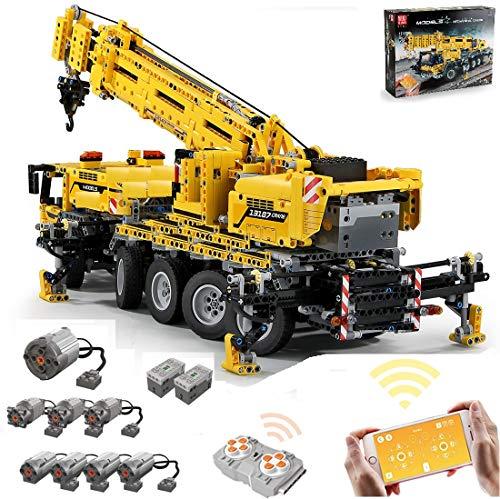TETAKE Technik Kran MK2 Bausteine Modell, Technic Mobiler Schwerlastkran, 2.4G RC Kran-LKW Bauset mit 8 Motors, 2590 Klemmbausteine - Kompatibel mit Lego Technik