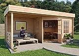 Alpholz Gartenhaus Hanna-40 aus Massiv-Holz | Gerätehaus mit 40 mm Wandstärke | Garten Holzhaus inklusive Montagematerial | Geräteschuppen Größe: 598 x 302 cm | Flachdach