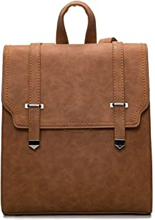 Fashion PU Leather Case Backpack Soft Surface Simple Retro Motorcycle Shoulder Bag (Color : Brown, Size : 27 * 33 * 9cm)