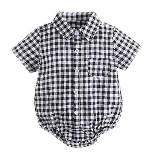 CCIIO Camisa a cuadros de manga corta mamelucos de diseño simple mono mono de algodón
