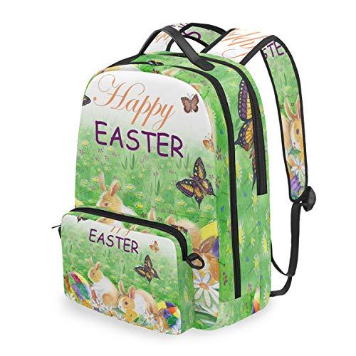 DOSHINE Abnehmbarer Reise-Rucksack, Osterhase, Blumen, Eier, Schmetterling, Schulranzen für Männer, Frauen, Jungen, Mädchen, Kinder