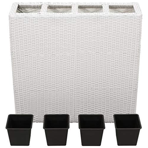 Tidyard Fioriera con 4 Vasi in Polyrattan e Plastica 79 x 22 x 76 cm | Bianco