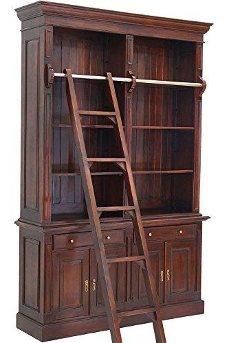 Moreko Bibliothek mit Anlegeleiter Bücher-Schrank Antik-Stil Bücherregal Mahagoni