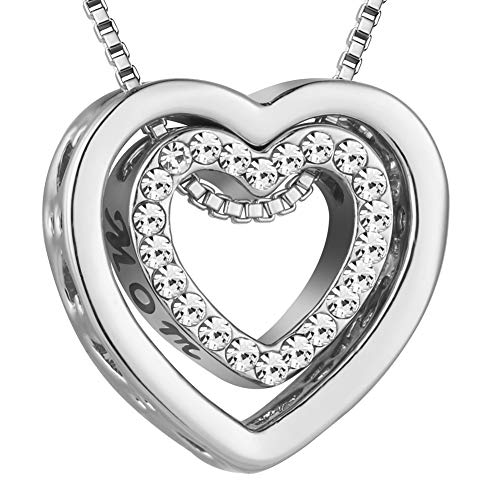 murtoo Gift for Mom Heart Necklace Double Heart Pendant with Crystals Decorated I Love U Engraved (Mom, I Love U (Silver))