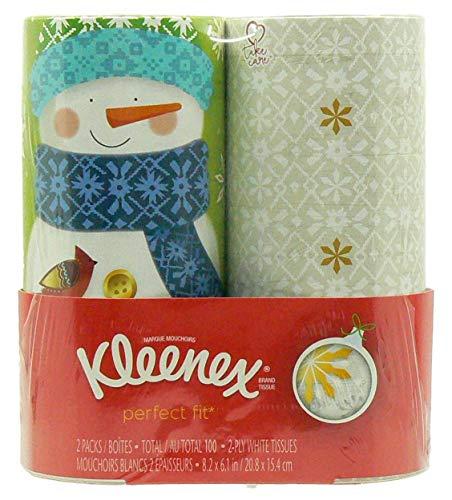 Kleenex Perfect Fit Cylinder Holiday Tissues 2 Pack: Snowman Snowflake