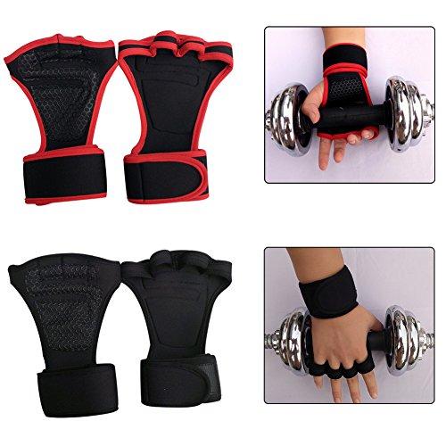 xMxDESiZMen - Guante Antideslizante para Entrenamiento de Fitness, Levantamiento de Pesas, con muñequera, Talla M, Color Rojo, Color Rojo, tamaño Medium