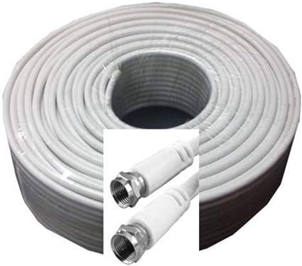 Cable de antena coaxial, cable de satélite para instalaciones DVB-S/S2 DVB-C y DVB-T BK /Full HD y otros, Weiß, 30m
