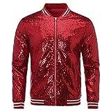 Mens Sequin Zipper Casual Blazer Top Metallic Party Bomber Jacket Coat