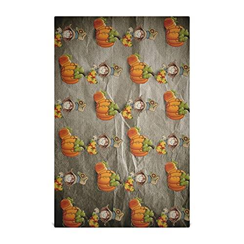 Dallonan Paños de cocina para lavar platos de cocina Halloween calabaza y espantapájaros Grunge poliéster suave absorbente toallas de cocina toallas de mano, toalla de plato, 61 x 45 cm, pieza de 1