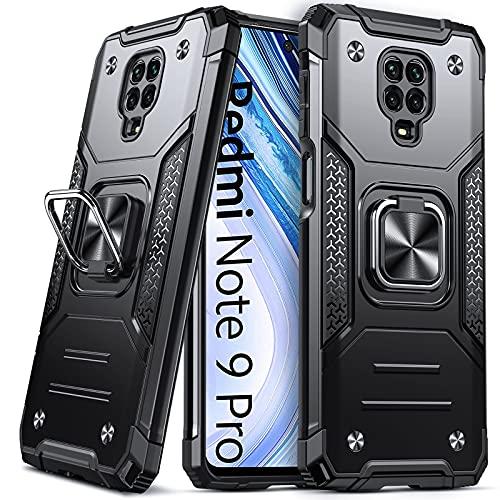 DASFOND Armor Hülle für Xiaomi Redmi Note 9 Pro/Note 9S mit Kameraschutz Hülle Militärische Stoßfeste Handyhülle 15-Fuß-Falltest [Upgrade 2.0] 360 ° Ständerhalter Magnetischer Autohalter Cover, Schwarz