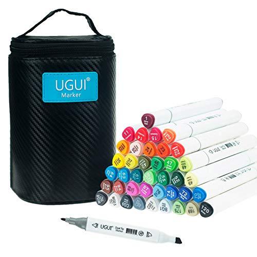 UGUI Markers, 40 Color Arte Marker Pen Set Dibujo Rotulador, Nueva Generación de Marcadores de Doble Punta para Suministros de Pintura y Dibujo para Niños y Adultos