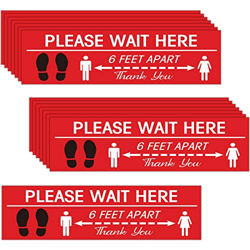 15 Pieces Rectangle Social Distance Floor Decals, Safety Floor Sign Marker Maintain 6 Foot Distance Please Wait Here Sticker Markers for Crowd Control Guidance Grocery Bank and Lab Stand Decal