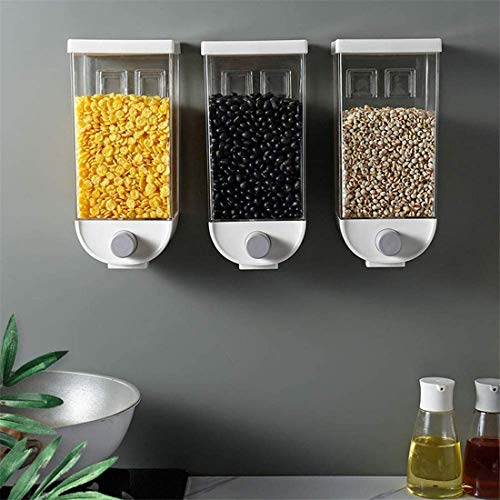 3 Pieces Set Wall Mounted Cereal Dispensers Food Containers Plastic Grains Nuts Coffee Bean Soy Bean Storage Box Kitchen Grain Storage Organiser Rice Barrel Sealed Storage Tank,1L