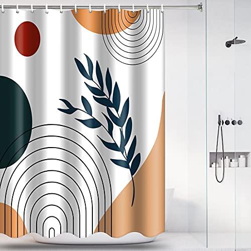 Abstract Shower Curtain Mid Century Minimalist Geometric Shower Curtain with 12 Hooks Waterproof Bathtub Curtains Modern Bathroom Decor