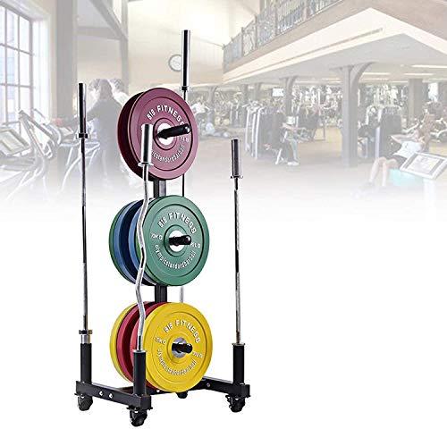 Tiyabdl Gewichtsplatte Lagerung für Gewichte und Bar, Mobile Baum Lagergestell, tragbare Fitnessstudio- Familie Olympiade Hantelregale, Multifunktionsanzeigegestell