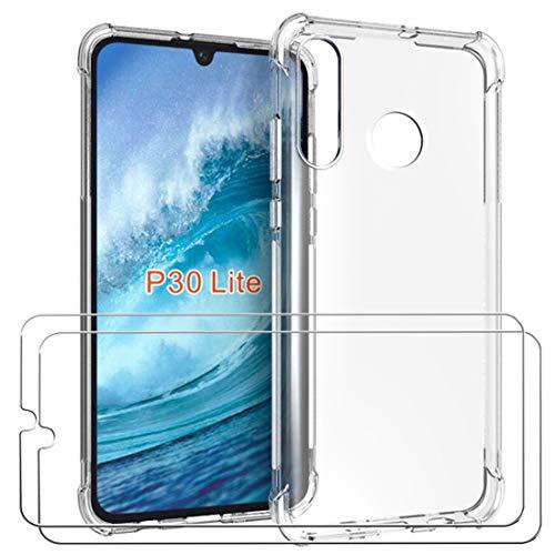 Lifeacc Cover Huawei P30 Lite & Pellicola Protettiva in Vetro Temperato [2 Packs],Nuovo Arrivo Air Cushion Antiurto Morbida Silicone Trasparente Custodia per P30 Lite