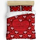 Set copripiumino in 3 pezzi, morbido e caldo, 1 copripiumino e 2 federe per l'inverno Love You More Than Anything Valentine Red Heart Luxury reversibile per camera da letto California King