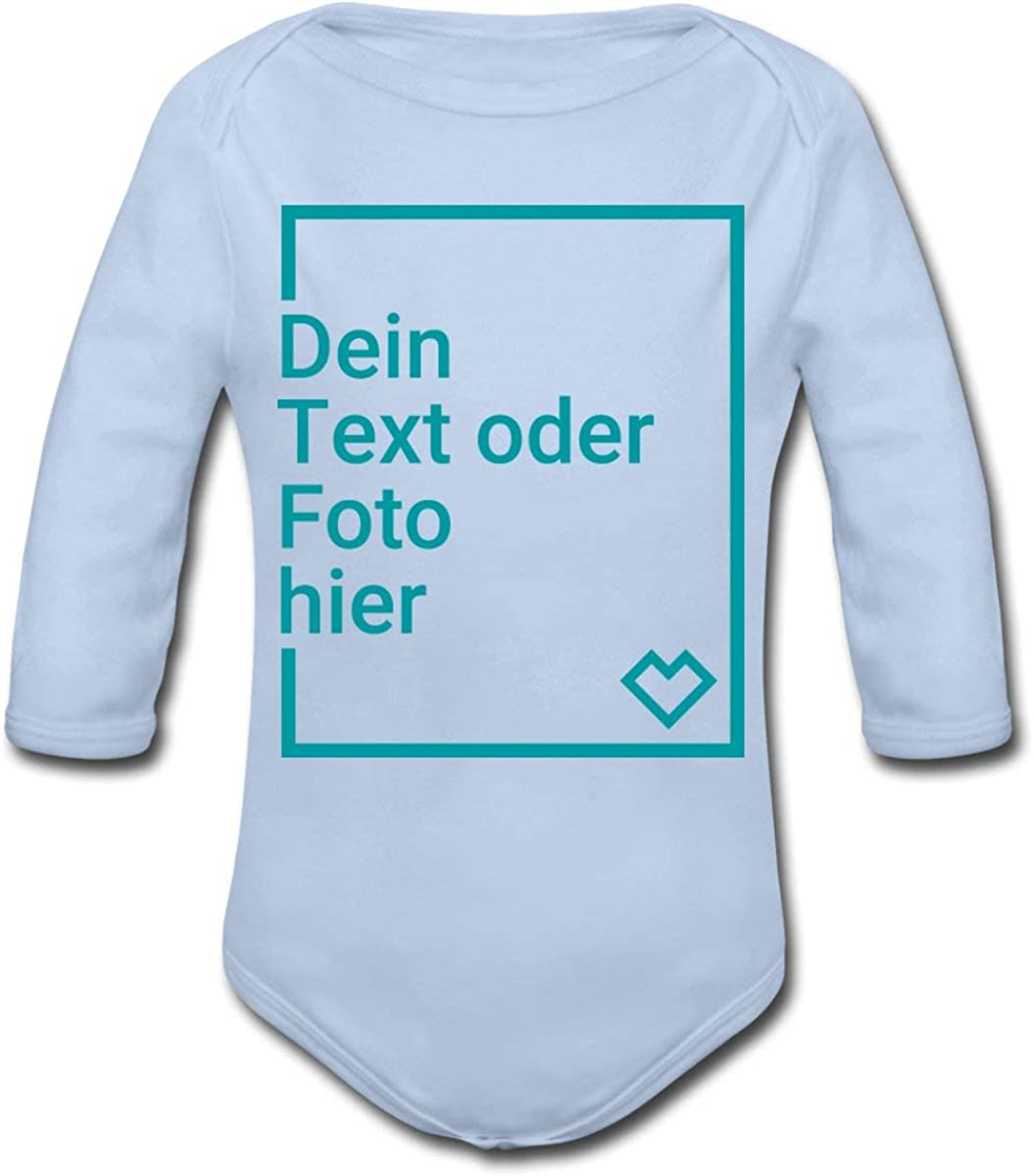 Spreadshirt Personalisierbare Babygeschenke Selbst Gestalten mit Foto und Text Wunschmotiv Baby Bio-Langarm-Body