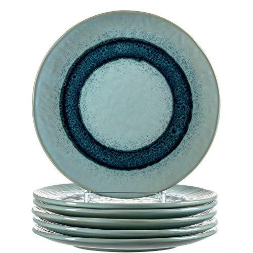 Leonardo Teller Matera 6-er Set, 22,5 cm, 6 Keramik Teller, spülmaschinengeeignet, mit Glasur, blau, 018544