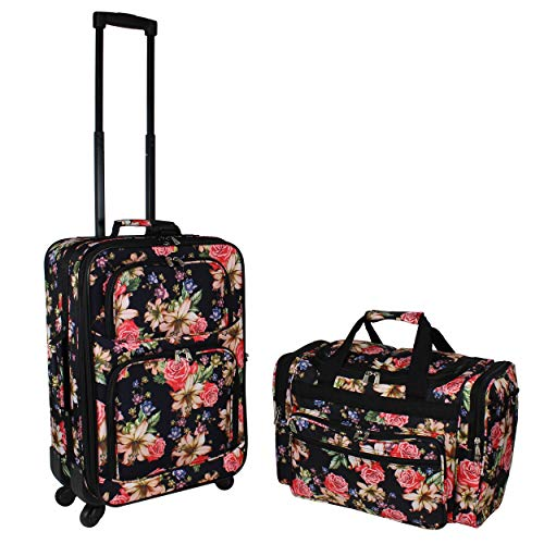 World Traveler 2-Piece Carry-On Expandable Spinner Luggage Set, Rose Lily, One Size