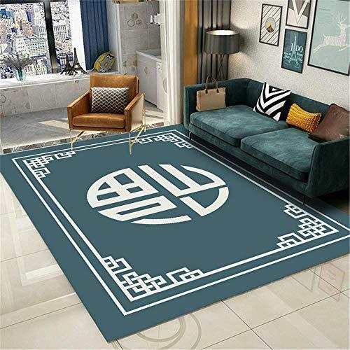 AU-SHTANG alfombras de habitacion pequeñas Alfombra Verde, Alfombra Oriental Antistática Fácil Mantenimiento fácil de Limpiar Anti-ácaro Alfombra Comedor -Verde_100x160cm