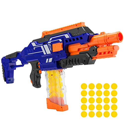 Best Choice Products Electric Motorized Soft Foam Ball Rapid Fire Blaster Toy w/ 25 Balls, Easy Access Magazine