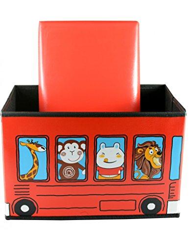 Home Line Puff/Baúl Infantil Plegable para Almacenamiento de Juguetes, de Color Rojo....