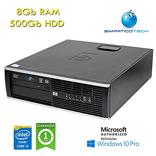 PC HP Compaq 8200 Elite SFF Core i5-2400 3,1 GHz 8 GB RAM 500 GB Windows 10 Professional con Licencia Nueva Simpaticotech MAR Microsoft Authorized Refurbisher (reacondicionado)