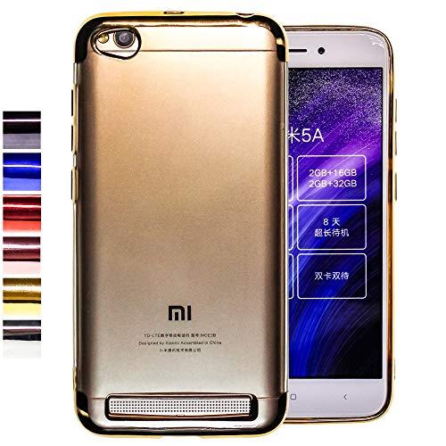 COOVY® Funda para Xiaomi Redmi 5A Ligera de silicio TPU, Ultrafina, Transparente con Bordes de Aspecto Cromado   Color Oro