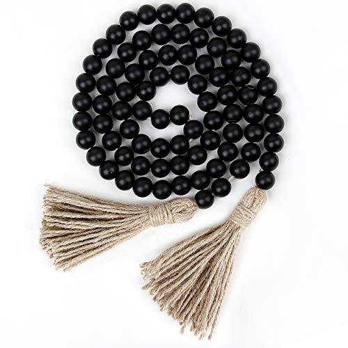 58in Wood Bead Garland with Tassels,Farmhouse Beads Rustic Country Decor Prayer Boho Beads Wall Hanging Decoration (Black)