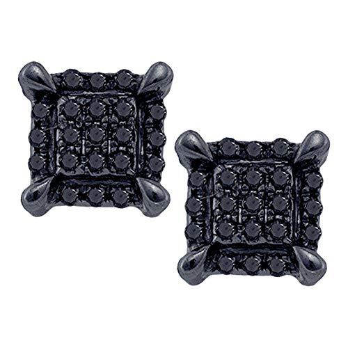 Pendientes cuadrados de oro blanco de 10 quilates para hombre, redondos, de color negro, con diamante mejorado, 1/12 quilates