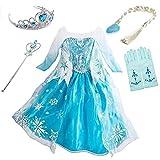 LOBTY Princesa Disfraz de Princesa Elsa Disfraces de Princesa Gradiente Fancy Dress Elasticidad niña Lentejuela Impreso Nieve Accesorios con Capas 3-9 años