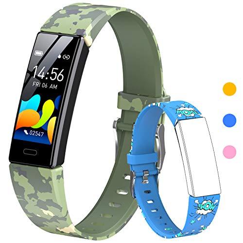 HOFIT Fitness Tracker für Kinder, Aktivitäts-Tracker mit Schrittzählern, Herzfrequenz- und Schlafmonitor, Stoppuhr, IP68 wasserdicht, Smartwatch Armband mit 2 Armbändern, Geschenk für Kinder (Blau)