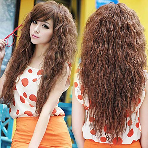"""TopWigy Long Curly Wave Wigs Synthetic Hair Oblique Bang Cosplay Party Wig 18"""" (light brown)"""