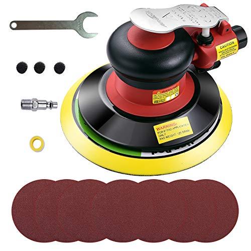 Autolock Exzenterschleifer Pneumatische,6 Zoll Poliermaschine mit 7 Stücke Schleifteller,10000 RPM 120mm Schleifmaschine,Schleifmaschine Polieren für Holz Auto Metall
