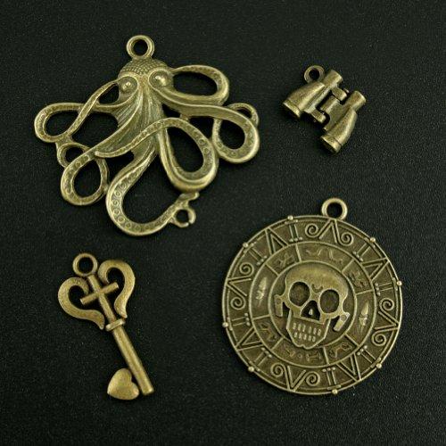 4Steampunk Bronze Pirat Anhänger antik bronze Skelett Schlüssel Fernglas Oktopus Charm Anhänger Halskette Anhänger