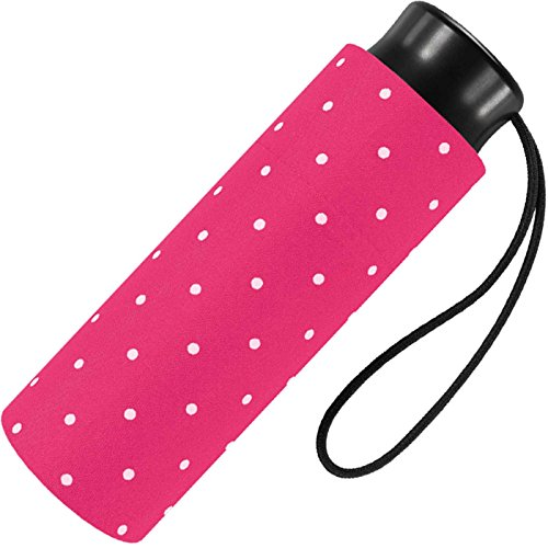 Ultra Mini Taschenschirm Damen Regenschirm Flash - Dots - pink