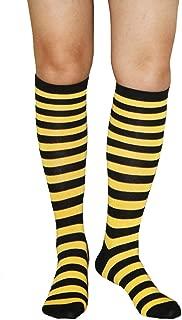 Girls Women Colorful Striped Rainbow Soccer Costume Knee High Socks Leg Warmer